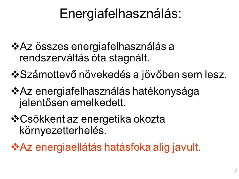 7 Energiafelhasználás:  Az összes energiafelhasználás a rendszerváltás óta stagnált.  Számottevő növekedés a jövőben sem lesz.  Az energiafelhaszná