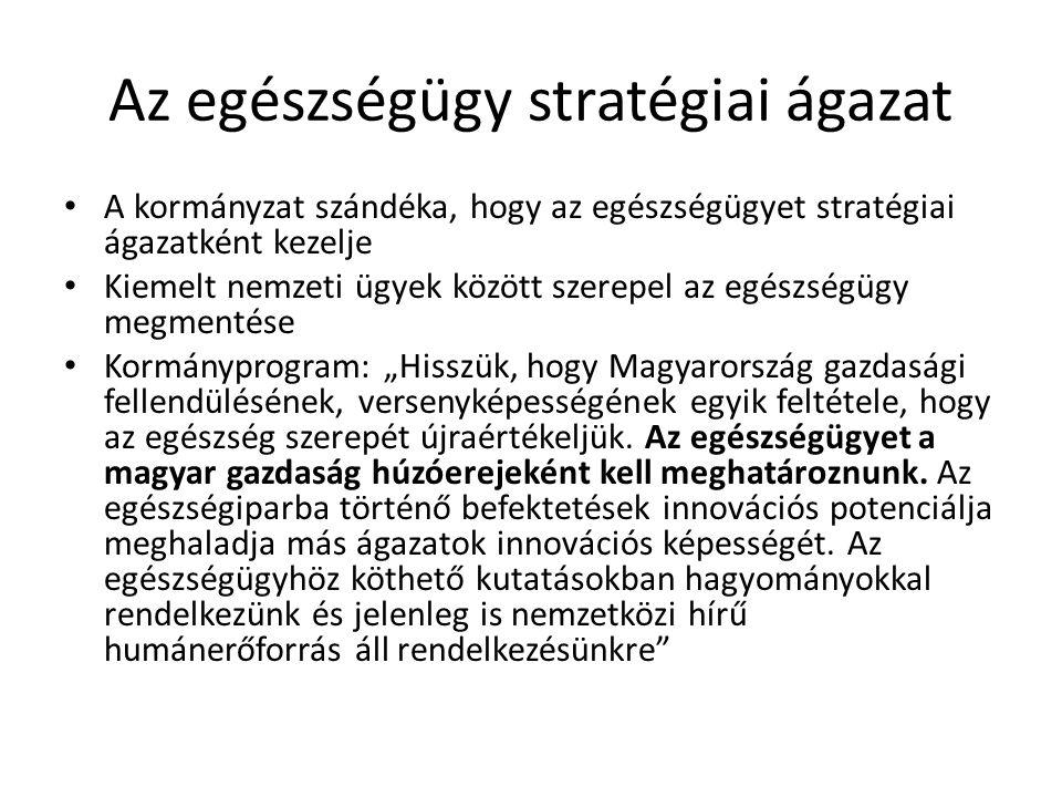 """Az egészségügy stratégiai ágazat A kormányzat szándéka, hogy az egészségügyet stratégiai ágazatként kezelje Kiemelt nemzeti ügyek között szerepel az egészségügy megmentése Kormányprogram: """"Hisszük, hogy Magyarország gazdasági fellendülésének, versenyképességének egyik feltétele, hogy az egészség szerepét újraértékeljük."""
