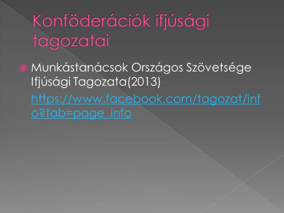  Munkástanácsok Országos Szövetsége Ifjúsági Tagozata(2013) https://www.facebook.com/tagozat/inf o tab=page_info