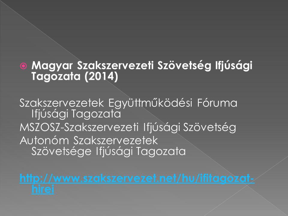  Magyar Szakszervezeti Szövetség Ifjúsági Tagozata (2014) Szakszervezetek Együttműködési Fóruma Ifjúsági Tagozata MSZOSZ-Szakszervezeti Ifjúsági Szöv