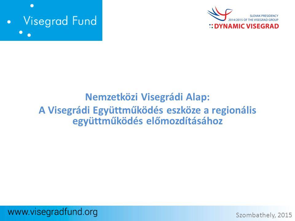 Nemzetközi Visegrádi Alap: A Visegrádi Együttműködés eszköze a regionális együttműködés előmozdításához Szombathely, 2015