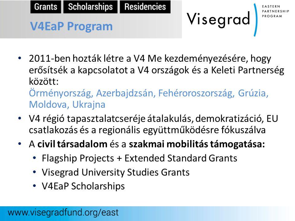V4EaP Program 2011-ben hozták létre a V4 Me kezdeményezésére, hogy erősítsék a kapcsolatot a V4 országok és a Keleti Partnerség között: Örményország,