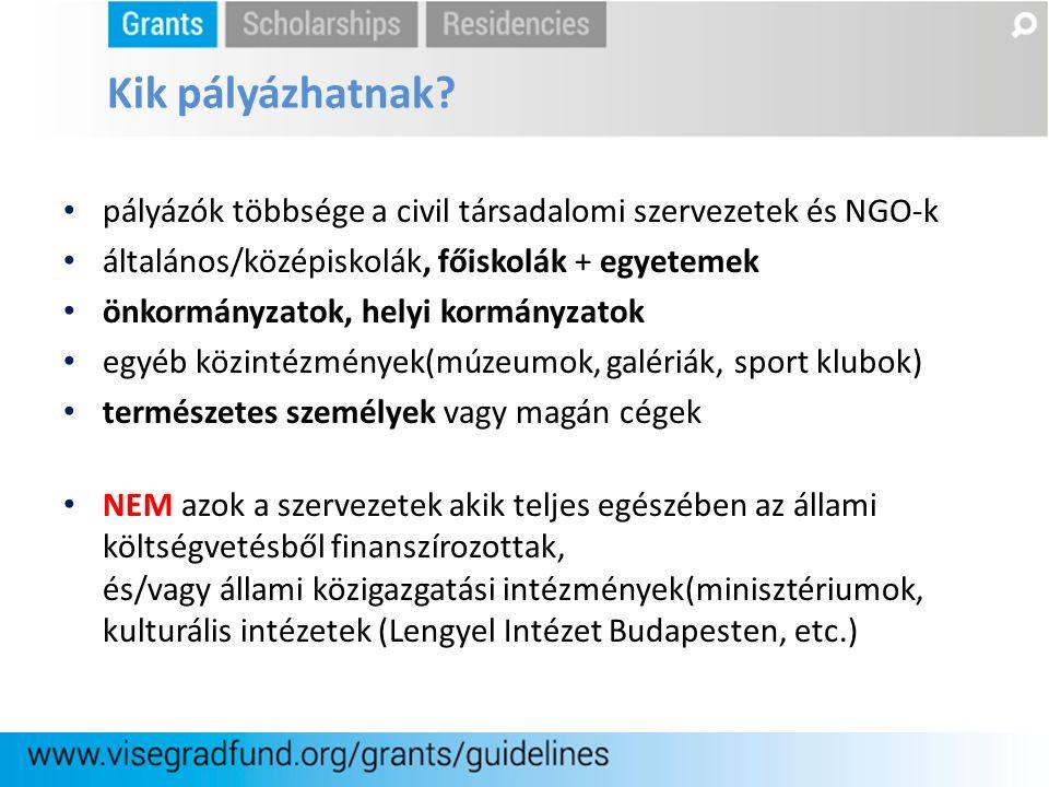 pályázók többsége a civil társadalomi szervezetek és NGO-k általános/középiskolák, főiskolák + egyetemek önkormányzatok, helyi kormányzatok egyéb közi
