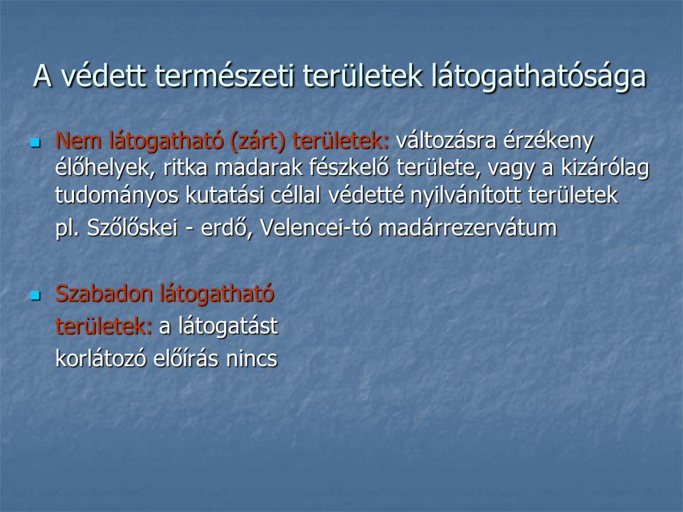A védett természeti területek látogathatósága Nem látogatható (zárt) területek: változásra érzékeny élőhelyek, ritka madarak fészkelő területe, vagy a kizárólag tudományos kutatási céllal védetté nyilvánított területek Nem látogatható (zárt) területek: változásra érzékeny élőhelyek, ritka madarak fészkelő területe, vagy a kizárólag tudományos kutatási céllal védetté nyilvánított területek pl.