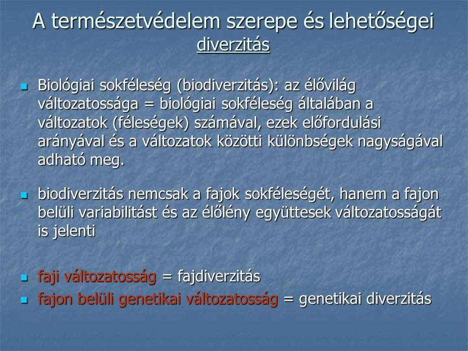 A természetvédelem szerepe és lehetőségei diverzitás Biológiai sokféleség (biodiverzitás): az élővilág változatossága = biológiai sokféleség általában