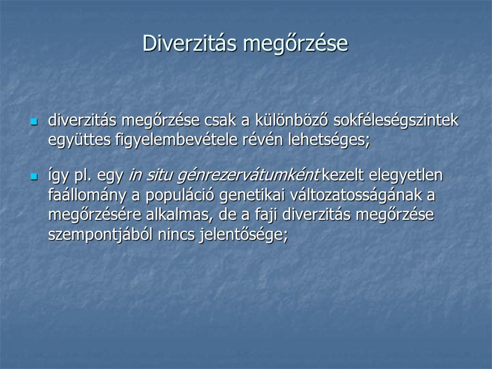 Diverzitás megőrzése diverzitás megőrzése csak a különböző sokféleségszintek együttes figyelembevétele révén lehetséges; diverzitás megőrzése csak a különböző sokféleségszintek együttes figyelembevétele révén lehetséges; így pl.