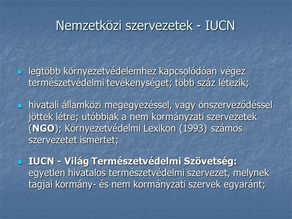 Nemzetközi szervezetek - IUCN legtöbb környezetvédelemhez kapcsolódóan végez természetvédelmi tevékenységet; több száz létezik; legtöbb környezetvédel
