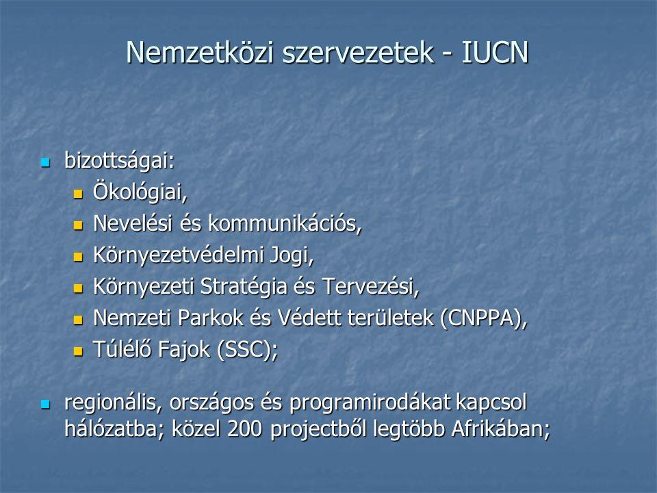 Nemzetközi szervezetek - IUCN bizottságai: bizottságai: Ökológiai, Ökológiai, Nevelési és kommunikációs, Nevelési és kommunikációs, Környezetvédelmi Jogi, Környezetvédelmi Jogi, Környezeti Stratégia és Tervezési, Környezeti Stratégia és Tervezési, Nemzeti Parkok és Védett területek (CNPPA), Nemzeti Parkok és Védett területek (CNPPA), Túlélő Fajok (SSC); Túlélő Fajok (SSC); regionális, országos és programirodákat kapcsol hálózatba; közel 200 projectből legtöbb Afrikában; regionális, országos és programirodákat kapcsol hálózatba; közel 200 projectből legtöbb Afrikában;