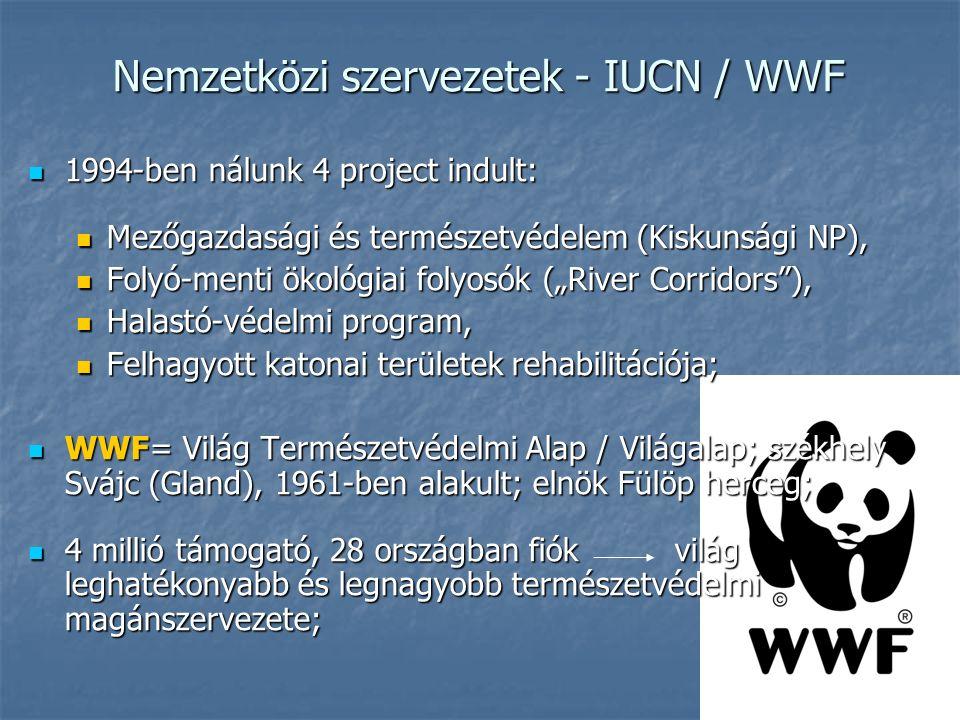 """Nemzetközi szervezetek - IUCN / WWF 1994-ben nálunk 4 project indult: 1994-ben nálunk 4 project indult: Mezőgazdasági és természetvédelem (Kiskunsági NP), Mezőgazdasági és természetvédelem (Kiskunsági NP), Folyó-menti ökológiai folyosók (""""River Corridors ), Folyó-menti ökológiai folyosók (""""River Corridors ), Halastó-védelmi program, Halastó-védelmi program, Felhagyott katonai területek rehabilitációja; Felhagyott katonai területek rehabilitációja; WWF= Világ Természetvédelmi Alap / Világalap; székhely Svájc (Gland), 1961-ben alakult; elnök Fülöp herceg; WWF= Világ Természetvédelmi Alap / Világalap; székhely Svájc (Gland), 1961-ben alakult; elnök Fülöp herceg; 4 millió támogató, 28 országban fiók világ leghatékonyabb és legnagyobb természetvédelmi magánszervezete; 4 millió támogató, 28 országban fiók világ leghatékonyabb és legnagyobb természetvédelmi magánszervezete;"""