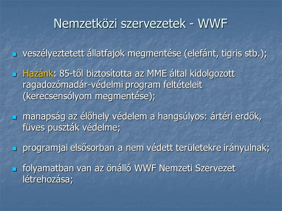 Nemzetközi szervezetek - WWF veszélyeztetett állatfajok megmentése (elefánt, tigris stb.); veszélyeztetett állatfajok megmentése (elefánt, tigris stb.); Hazánk: 85-től biztosította az MME által kidolgozott ragadozómadár-védelmi program feltételeit (kerecsensólyom megmentése); Hazánk: 85-től biztosította az MME által kidolgozott ragadozómadár-védelmi program feltételeit (kerecsensólyom megmentése); manapság az élőhely védelem a hangsúlyos: ártéri erdők, füves puszták védelme; manapság az élőhely védelem a hangsúlyos: ártéri erdők, füves puszták védelme; programjai elsősorban a nem védett területekre irányulnak; programjai elsősorban a nem védett területekre irányulnak; folyamatban van az önálló WWF Nemzeti Szervezet létrehozása; folyamatban van az önálló WWF Nemzeti Szervezet létrehozása;