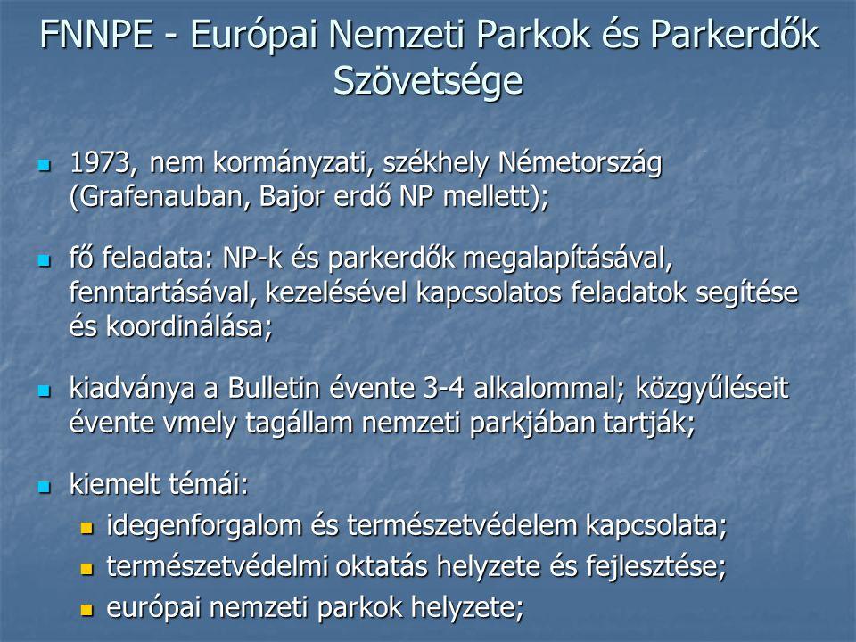 FNNPE - Európai Nemzeti Parkok és Parkerdők Szövetsége 1973, nem kormányzati, székhely Németország (Grafenauban, Bajor erdő NP mellett); 1973, nem kormányzati, székhely Németország (Grafenauban, Bajor erdő NP mellett); fő feladata: NP-k és parkerdők megalapításával, fenntartásával, kezelésével kapcsolatos feladatok segítése és koordinálása; fő feladata: NP-k és parkerdők megalapításával, fenntartásával, kezelésével kapcsolatos feladatok segítése és koordinálása; kiadványa a Bulletin évente 3-4 alkalommal; közgyűléseit évente vmely tagállam nemzeti parkjában tartják; kiadványa a Bulletin évente 3-4 alkalommal; közgyűléseit évente vmely tagállam nemzeti parkjában tartják; kiemelt témái: kiemelt témái: idegenforgalom és természetvédelem kapcsolata; idegenforgalom és természetvédelem kapcsolata; természetvédelmi oktatás helyzete és fejlesztése; természetvédelmi oktatás helyzete és fejlesztése; európai nemzeti parkok helyzete; európai nemzeti parkok helyzete;