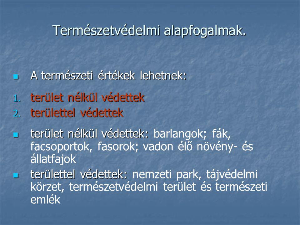 Természetvédelmi alapfogalmak. A természeti értékek lehetnek: A természeti értékek lehetnek: 1. terület nélkül védettek 2. területtel védettek terület