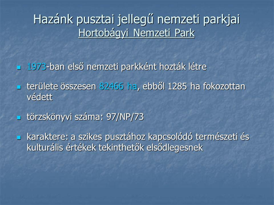 Hazánk pusztai jellegű nemzeti parkjai Hortobágyi Nemzeti Park 1973-ban első nemzeti parkként hozták létre 1973-ban első nemzeti parkként hozták létre területe összesen 82466 ha, ebből 1285 ha fokozottan védett területe összesen 82466 ha, ebből 1285 ha fokozottan védett törzskönyvi száma: 97/NP/73 törzskönyvi száma: 97/NP/73 karaktere: a szikes pusztához kapcsolódó természeti és kulturális értékek tekinthetők elsődlegesnek karaktere: a szikes pusztához kapcsolódó természeti és kulturális értékek tekinthetők elsődlegesnek