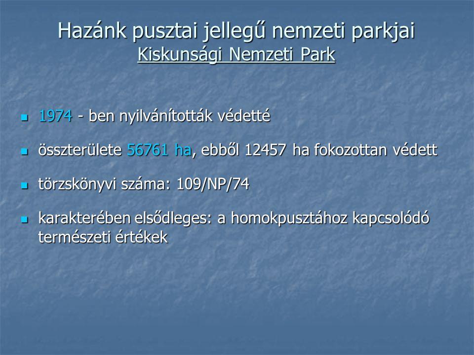 Hazánk pusztai jellegű nemzeti parkjai Kiskunsági Nemzeti Park 1974 - ben nyilvánították védetté 1974 - ben nyilvánították védetté összterülete 56761 ha, ebből 12457 ha fokozottan védett összterülete 56761 ha, ebből 12457 ha fokozottan védett törzskönyvi száma: 109/NP/74 törzskönyvi száma: 109/NP/74 karakterében elsődleges: a homokpusztához kapcsolódó természeti értékek karakterében elsődleges: a homokpusztához kapcsolódó természeti értékek