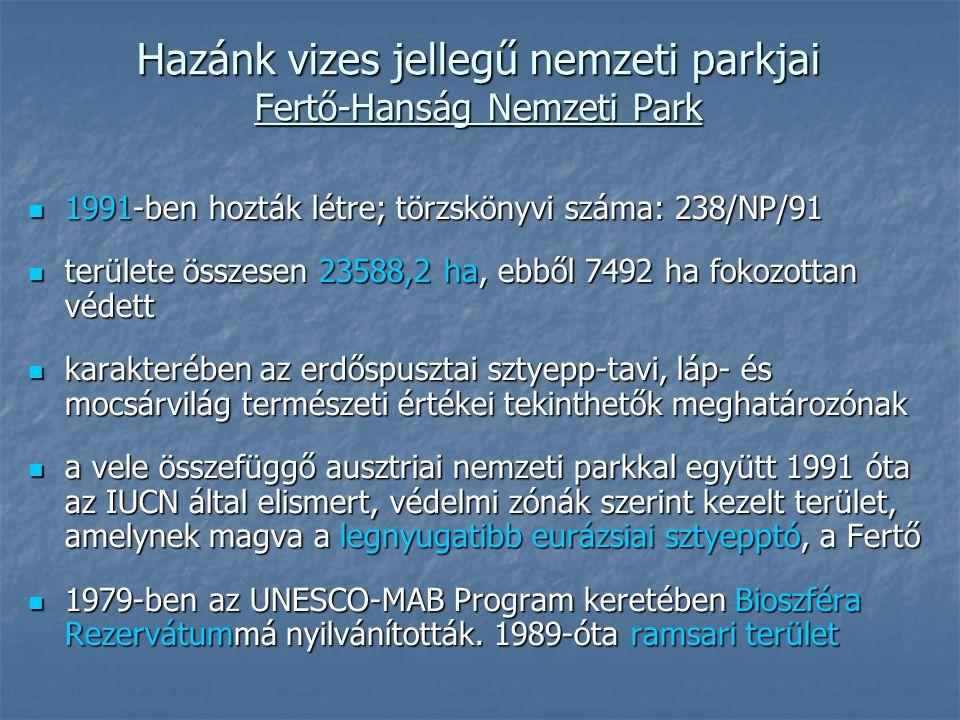 Hazánk vizes jellegű nemzeti parkjai Fertő-Hanság Nemzeti Park 1991-ben hozták létre; törzskönyvi száma: 238/NP/91 1991-ben hozták létre; törzskönyvi száma: 238/NP/91 területe összesen 23588,2 ha, ebből 7492 ha fokozottan védett területe összesen 23588,2 ha, ebből 7492 ha fokozottan védett karakterében az erdőspusztai sztyepp-tavi, láp- és mocsárvilág természeti értékei tekinthetők meghatározónak karakterében az erdőspusztai sztyepp-tavi, láp- és mocsárvilág természeti értékei tekinthetők meghatározónak a vele összefüggő ausztriai nemzeti parkkal együtt 1991 óta az IUCN által elismert, védelmi zónák szerint kezelt terület, amelynek magva a legnyugatibb eurázsiai sztyepptó, a Fertő a vele összefüggő ausztriai nemzeti parkkal együtt 1991 óta az IUCN által elismert, védelmi zónák szerint kezelt terület, amelynek magva a legnyugatibb eurázsiai sztyepptó, a Fertő 1979-ben az UNESCO-MAB Program keretében Bioszféra Rezervátummá nyilvánították.