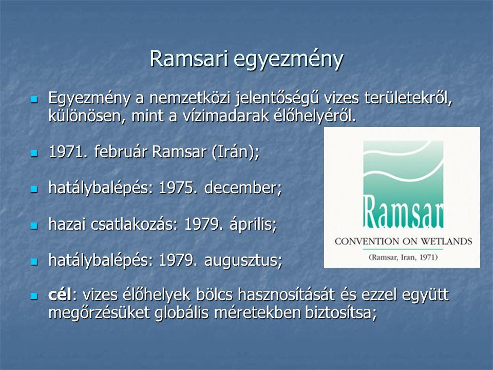 Ramsari egyezmény Egyezmény a nemzetközi jelentőségű vizes területekről, különösen, mint a vízimadarak élőhelyéről. Egyezmény a nemzetközi jelentőségű