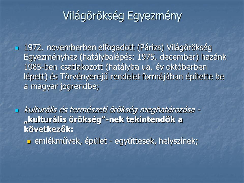 Világörökség Egyezmény 1972. novemberben elfogadott (Párizs) Világörökség Egyezményhez (hatálybalépés: 1975. december) hazánk 1985-ben csatlakozott (h