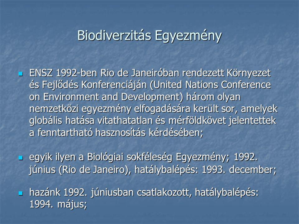 Biodiverzitás Egyezmény ENSZ 1992-ben Rio de Janeiróban rendezett Környezet és Fejlődés Konferenciáján (United Nations Conference on Environment and Development) három olyan nemzetközi egyezmény elfogadására került sor, amelyek globális hatása vitathatatlan és mérföldkövet jelentettek a fenntartható hasznosítás kérdésében; ENSZ 1992-ben Rio de Janeiróban rendezett Környezet és Fejlődés Konferenciáján (United Nations Conference on Environment and Development) három olyan nemzetközi egyezmény elfogadására került sor, amelyek globális hatása vitathatatlan és mérföldkövet jelentettek a fenntartható hasznosítás kérdésében; egyik ilyen a Biológiai sokféleség Egyezmény; 1992.