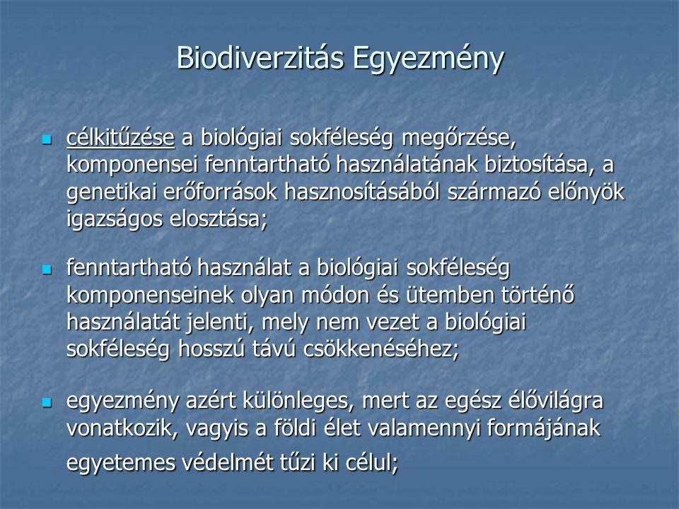 Biodiverzitás Egyezmény célkitűzése a biológiai sokféleség megőrzése, komponensei fenntartható használatának biztosítása, a genetikai erőforrások hasznosításából származó előnyök igazságos elosztása; célkitűzése a biológiai sokféleség megőrzése, komponensei fenntartható használatának biztosítása, a genetikai erőforrások hasznosításából származó előnyök igazságos elosztása; fenntartható használat a biológiai sokféleség komponenseinek olyan módon és ütemben történő használatát jelenti, mely nem vezet a biológiai sokféleség hosszú távú csökkenéséhez; fenntartható használat a biológiai sokféleség komponenseinek olyan módon és ütemben történő használatát jelenti, mely nem vezet a biológiai sokféleség hosszú távú csökkenéséhez; egyezmény azért különleges, mert az egész élővilágra vonatkozik, vagyis a földi élet valamennyi formájának egyetemes védelmét tűzi ki célul; egyezmény azért különleges, mert az egész élővilágra vonatkozik, vagyis a földi élet valamennyi formájának egyetemes védelmét tűzi ki célul;