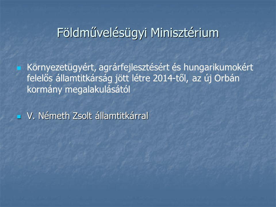 Földművelésügyi Minisztérium Környezetügyért, agrárfejlesztésért és hungarikumokért felelős államtitkárság jött létre 2014-től, az új Orbán kormány megalakulásától V.