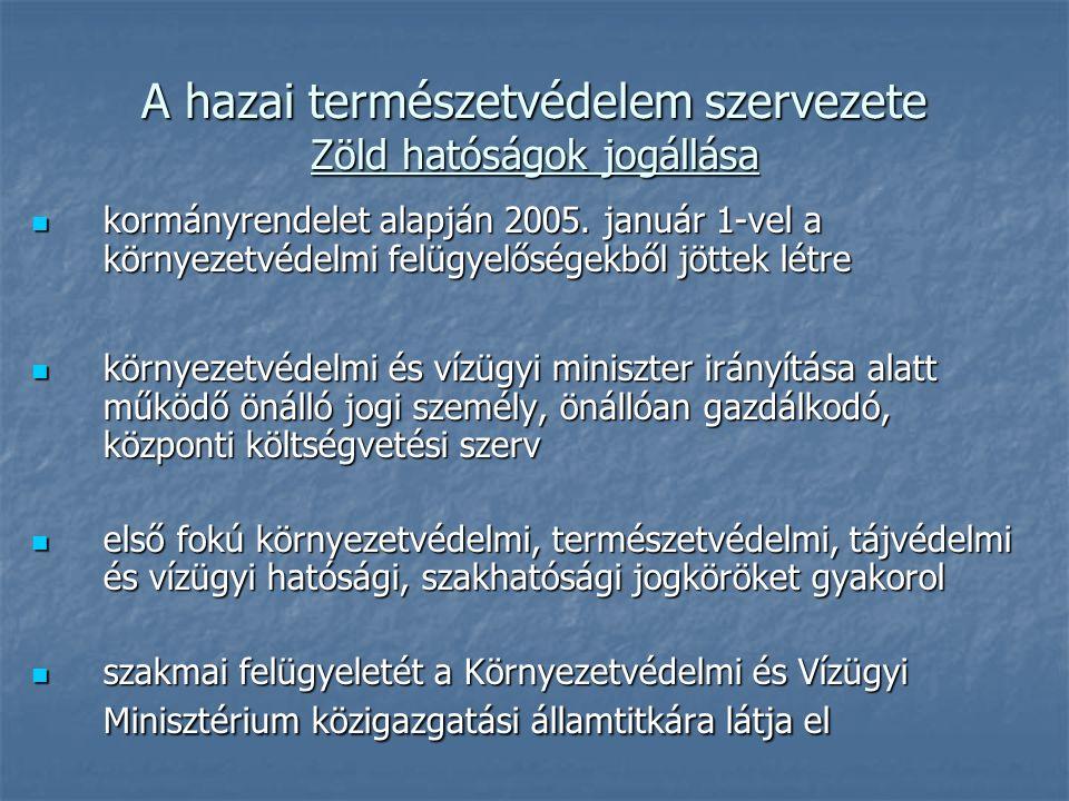 A hazai természetvédelem szervezete Zöld hatóságok jogállása kormányrendelet alapján 2005.