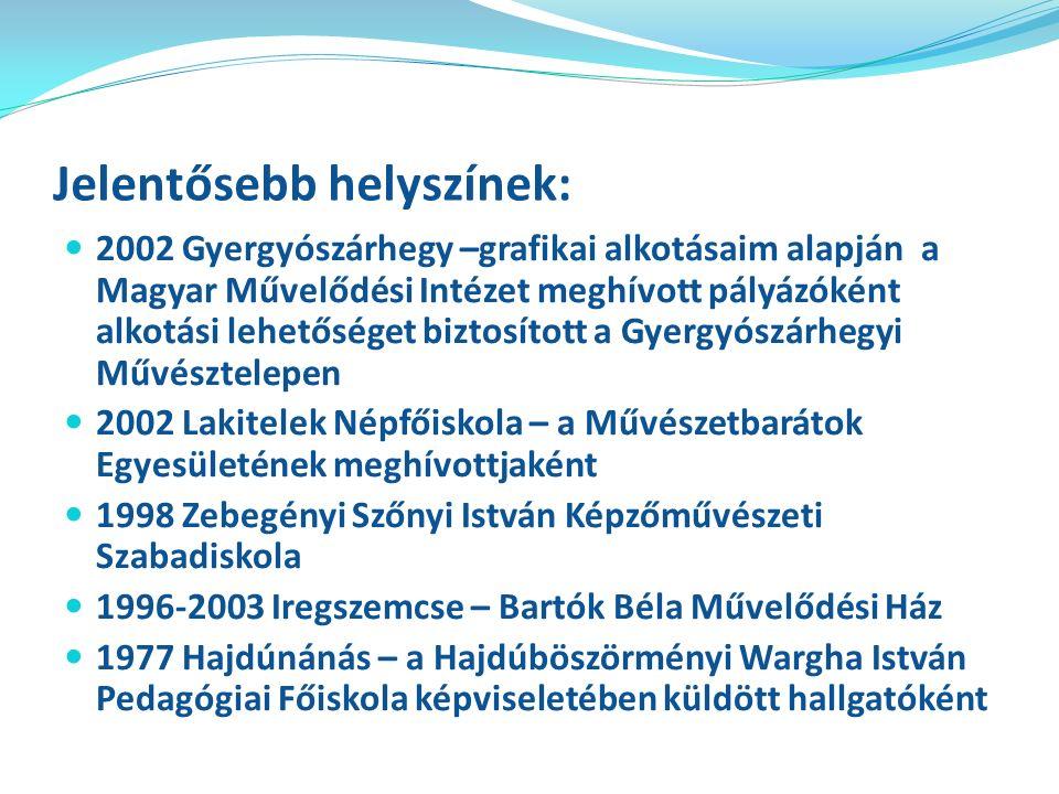 Jelentősebb egyéni és csoportos kiállításaim: 2006; 2008 Pataki István Művelődési Ház Budapest – a Művészetbarátok Egyesületének országos kiállítása 2003 Miskolci Egyetem Továbbképző Központ Galériája – önálló grafikai anyag bemutatása 2002 Budatétényi Galéria – a gyergyószárhegyi alkotók közös kiállítási anyagával 2002-ben Budapesten egyéni kiállításom volt a Gutenberg Galériában, melynek szakmai vonatkozásairól cikk jelent meg az Óvodai Élet című folyóirat 2002.