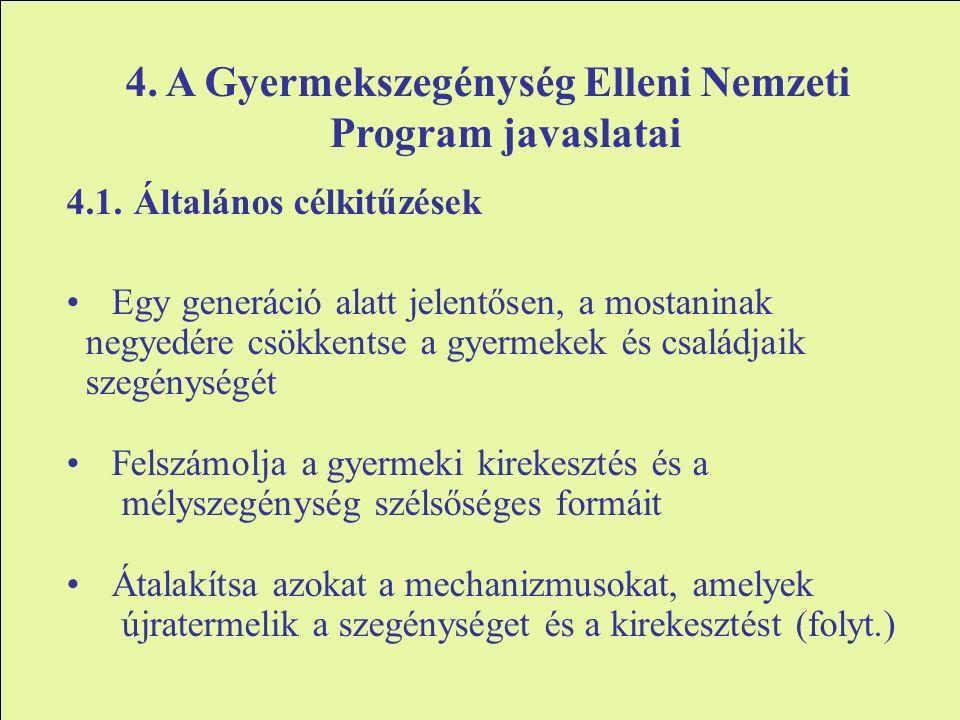 4. A Gyermekszegénység Elleni Nemzeti Program javaslatai 4.1.