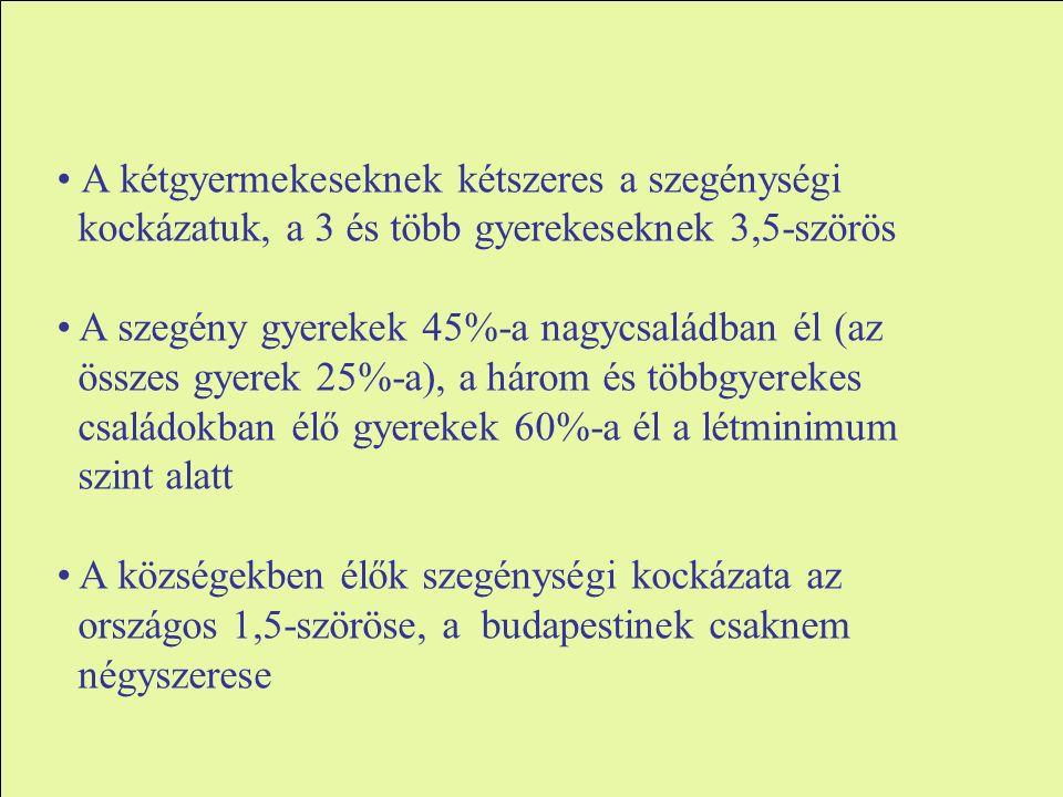 A kétgyermekeseknek kétszeres a szegénységi kockázatuk, a 3 és több gyerekeseknek 3,5-szörös A szegény gyerekek 45%-a nagycsaládban él (az összes gyerek 25%-a), a három és többgyerekes családokban élő gyerekek 60%-a él a létminimum szint alatt A községekben élők szegénységi kockázata az országos 1,5-szöröse, a budapestinek csaknem négyszerese