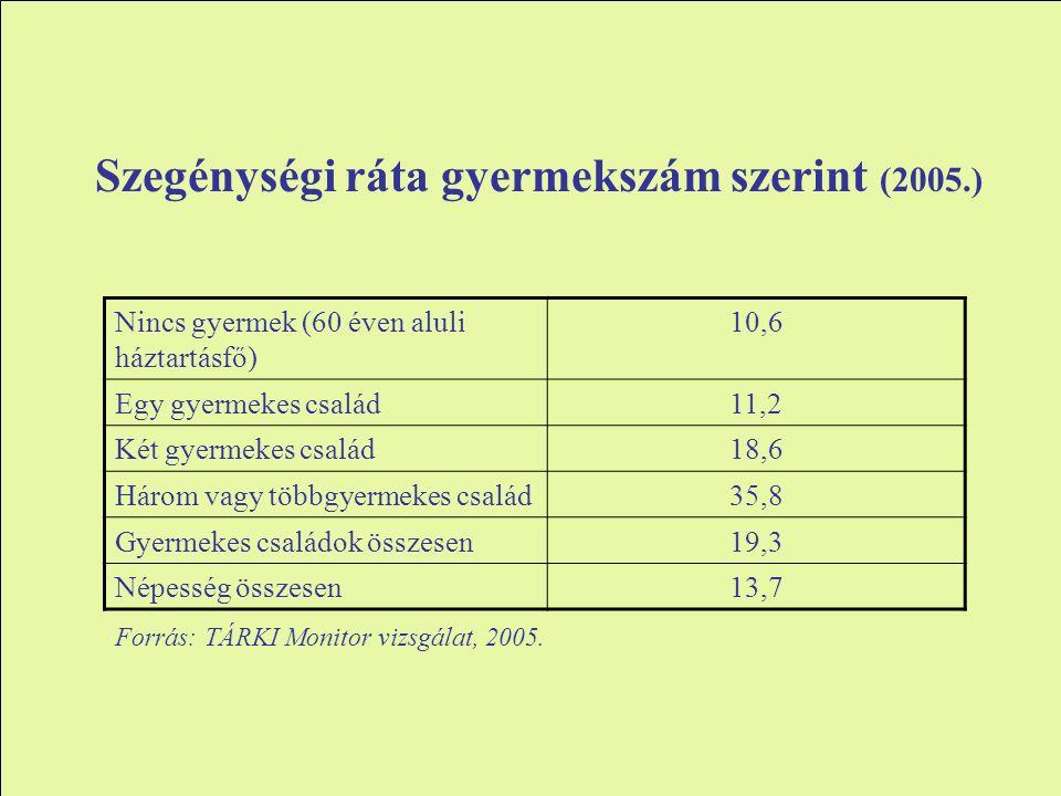 Szegénységi ráta gyermekszám szerint (2005.) Nincs gyermek (60 éven aluli háztartásfő) 10,6 Egy gyermekes család11,2 Két gyermekes család18,6 Három vagy többgyermekes család35,8 Gyermekes családok összesen19,3 Népesség összesen13,7 Forrás: TÁRKI Monitor vizsgálat, 2005.