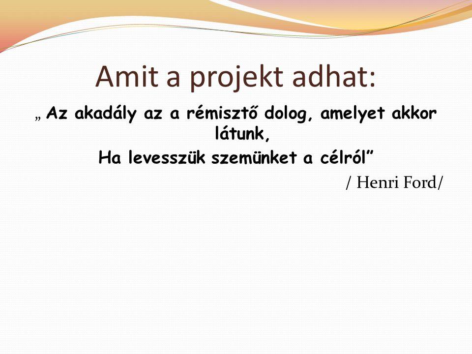 """Amit a projekt adhat: """" Az akadály az a rémisztő dolog, amelyet akkor látunk, Ha levesszük szemünket a célról / Henri Ford/"""