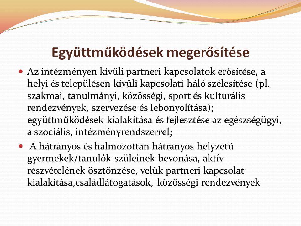 Együttműködések megerősítése Az intézményen kívüli partneri kapcsolatok erősítése, a helyi és településen kívüli kapcsolati háló szélesítése (pl.