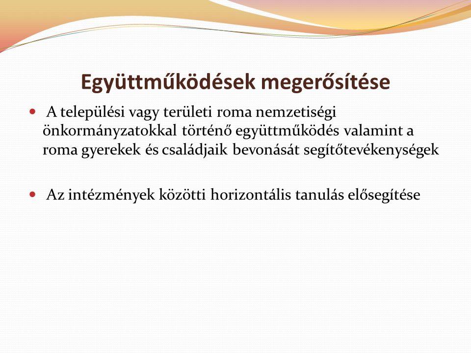 Együttműködések megerősítése A települési vagy területi roma nemzetiségi önkormányzatokkal történő együttműködés valamint a roma gyerekek és családjaik bevonását segítőtevékenységek Az intézmények közötti horizontális tanulás elősegítése