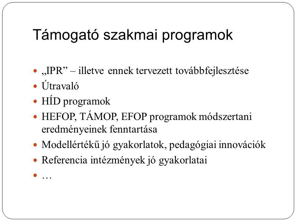 """Támogató szakmai programok """"IPR – illetve ennek tervezett továbbfejlesztése Útravaló HÍD programok HEFOP, TÁMOP, EFOP programok módszertani eredményeinek fenntartása Modellértékű jó gyakorlatok, pedagógiai innovációk Referencia intézmények jó gyakorlatai …"""