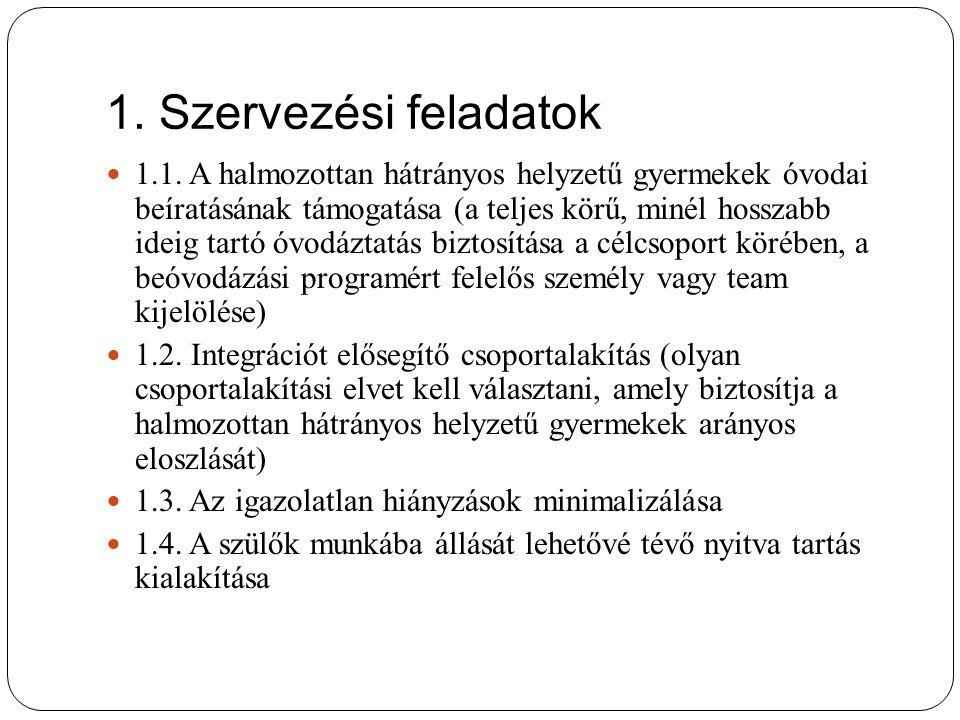 1. Szervezési feladatok 1.1.