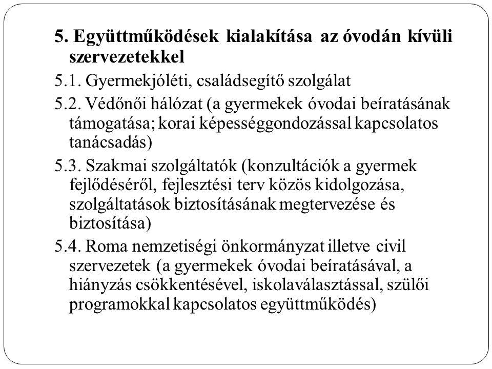 5. Együttműködések kialakítása az óvodán kívüli szervezetekkel 5.1.