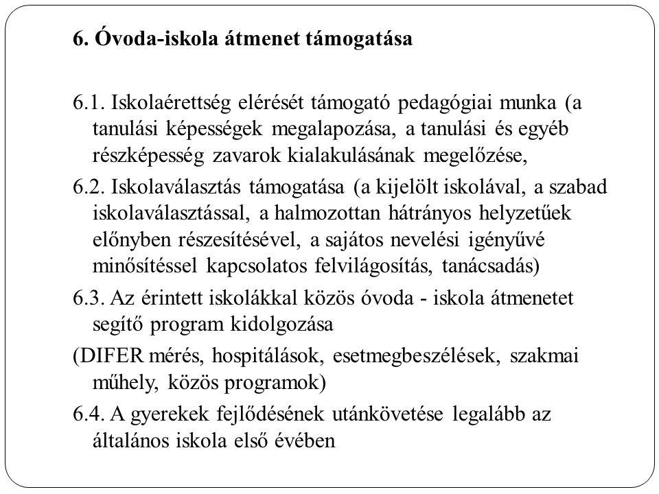 6. Óvoda-iskola átmenet támogatása 6.1.