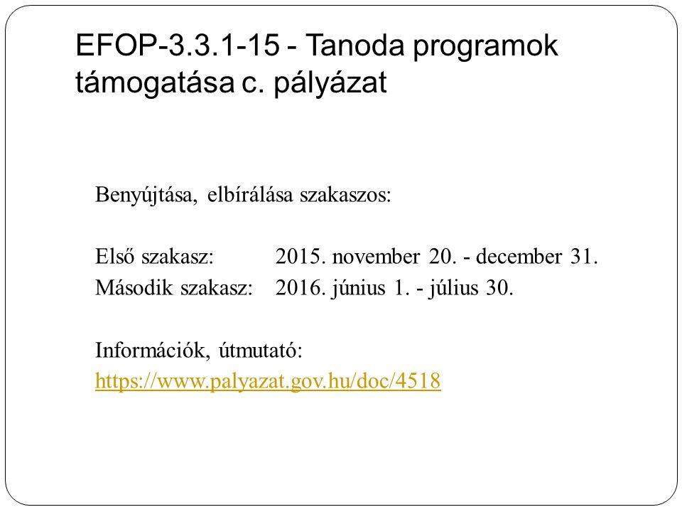 EFOP-3.3.1-15 - Tanoda programok támogatása c.