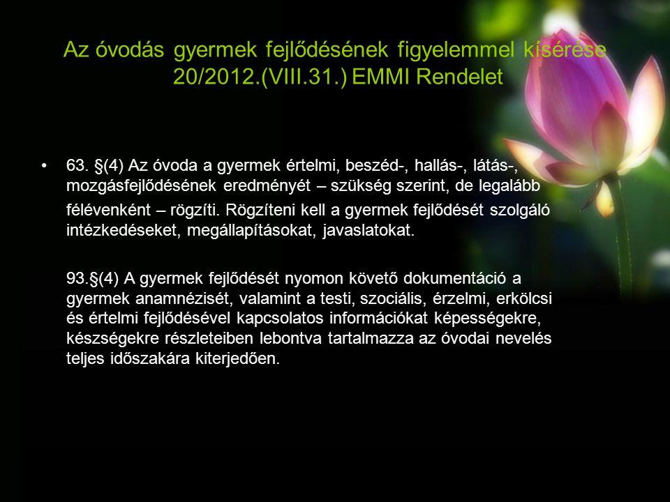 Az óvodás gyermek fejlődésének figyelemmel kísérése 20/2012.(VIII.31.) EMMI Rendelet 63.