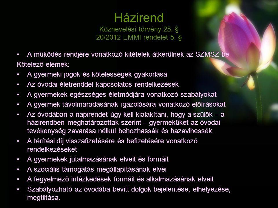 Házirend Köznevelési törvény 25. § 20/2012 EMMI rendelet 5.