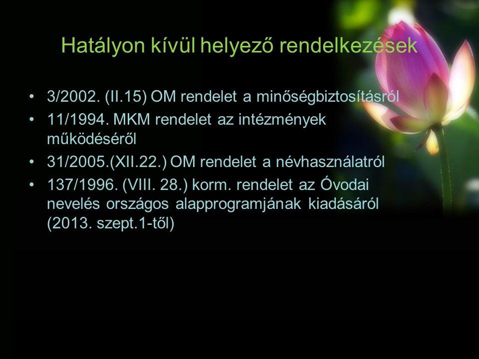 Hatályon kívül helyező rendelkezések 3/2002. (II.15) OM rendelet a minőségbiztosításról 11/1994.