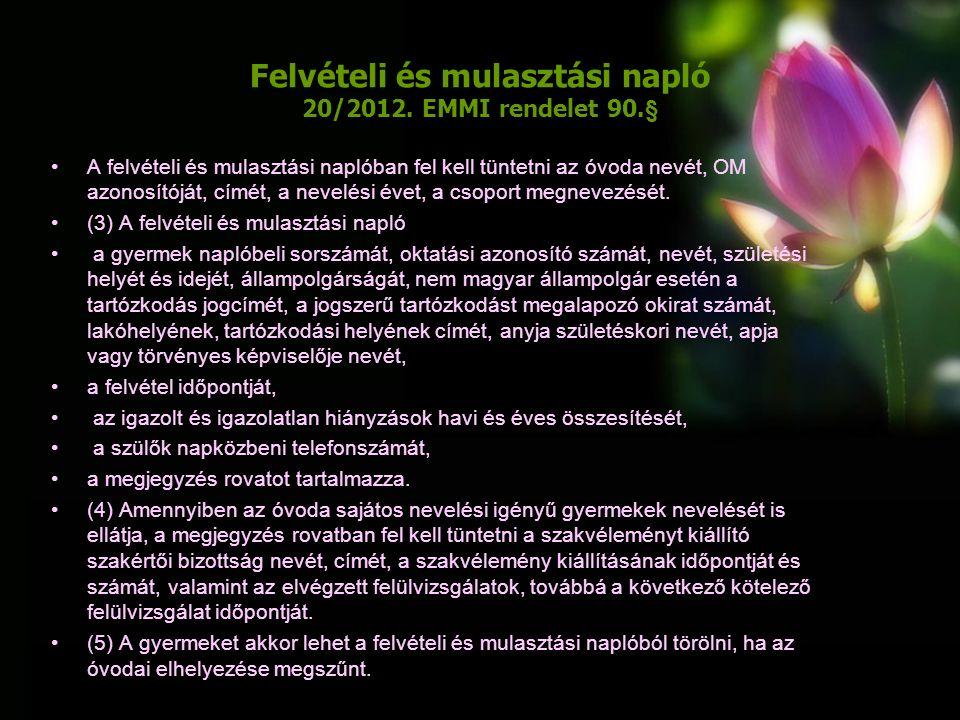 Felvételi és mulasztási napló 20/2012.