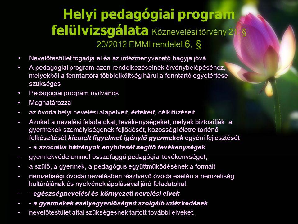 Helyi pedagógiai program felülvizsgálata Köznevelési törvény 21.