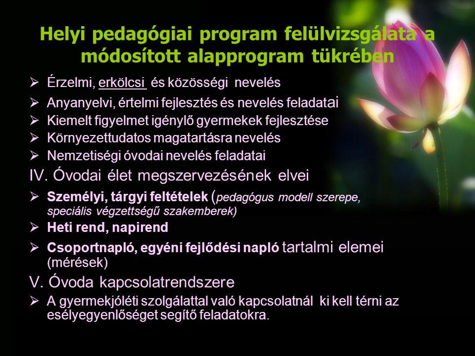 Helyi pedagógiai program felülvizsgálata a módosított alapprogram tükrében VI.