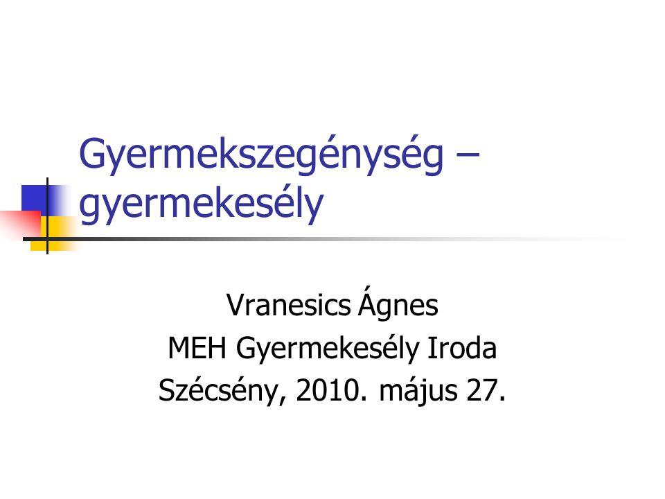 Gyermekszegénység – gyermekesély Vranesics Ágnes MEH Gyermekesély Iroda Szécsény, 2010. május 27.