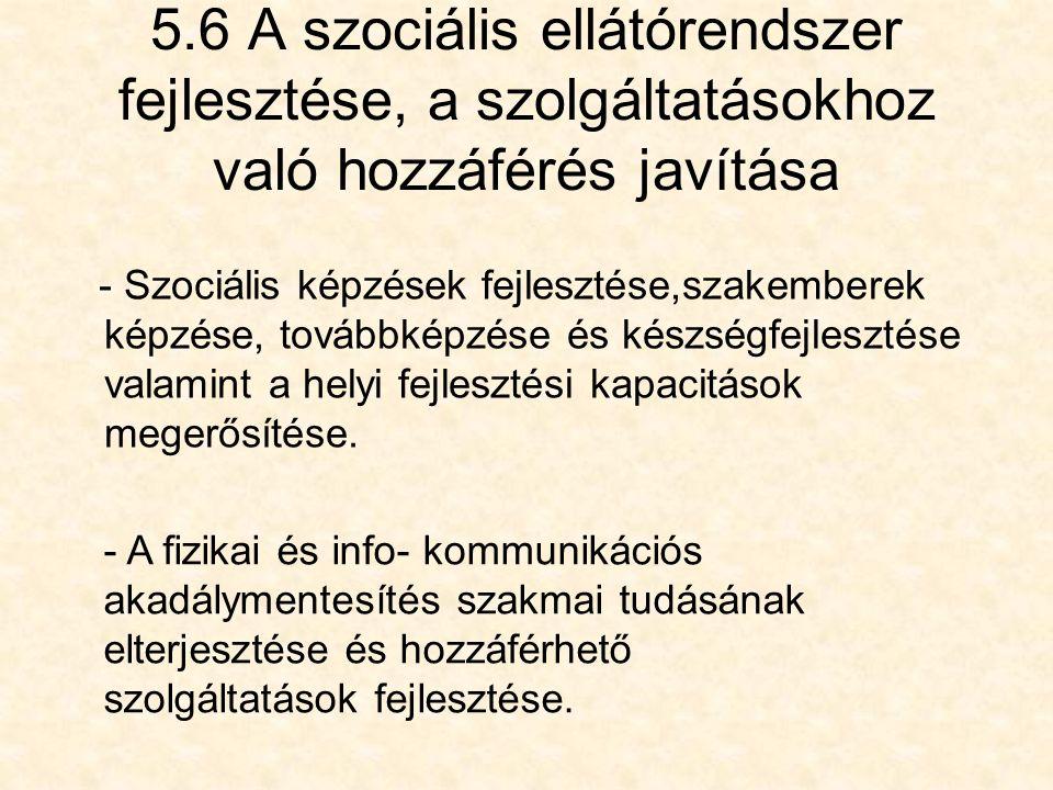 5.6 A szociális ellátórendszer fejlesztése, a szolgáltatásokhoz való hozzáférés javítása - Szociális képzések fejlesztése,szakemberek képzése, továbbképzése és készségfejlesztése valamint a helyi fejlesztési kapacitások megerősítése.