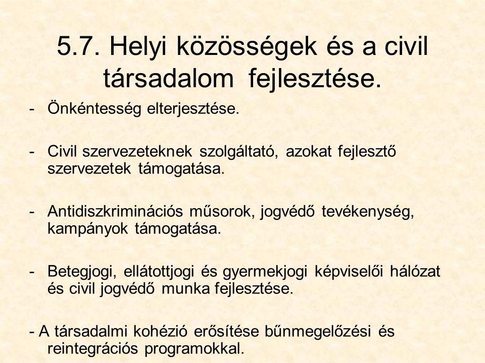 5.7. Helyi közösségek és a civil társadalom fejlesztése.