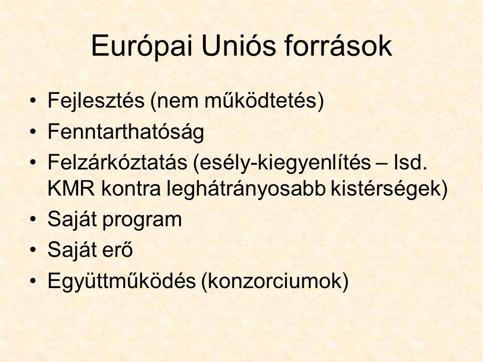 Európai Uniós források Fejlesztés (nem működtetés) Fenntarthatóság Felzárkóztatás (esély-kiegyenlítés – lsd.