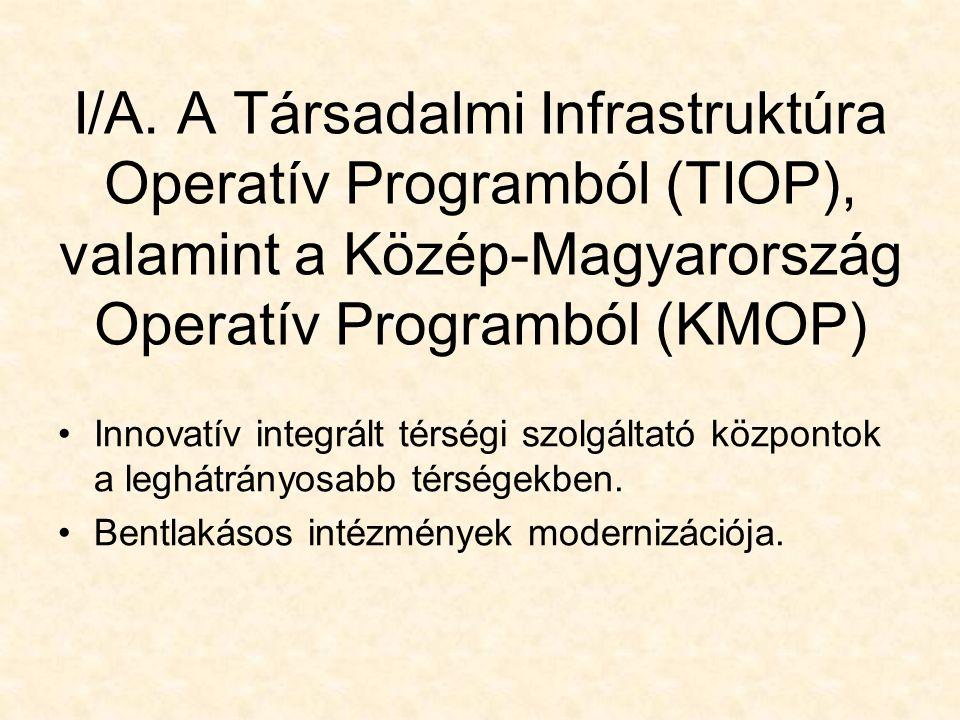 I/A. A Társadalmi Infrastruktúra Operatív Programból (TIOP), valamint a Közép-Magyarország Operatív Programból (KMOP) Innovatív integrált térségi szol