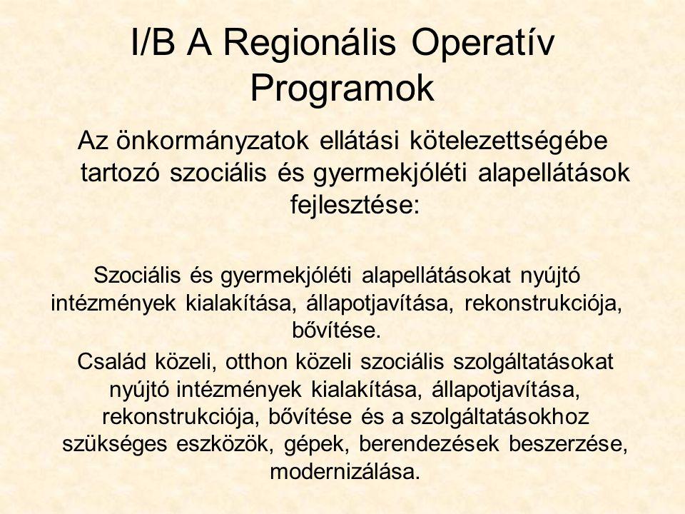 I/B A Regionális Operatív Programok Az önkormányzatok ellátási kötelezettségébe tartozó szociális és gyermekjóléti alapellátások fejlesztése: Szociális és gyermekjóléti alapellátásokat nyújtó intézmények kialakítása, állapotjavítása, rekonstrukciója, bővítése.