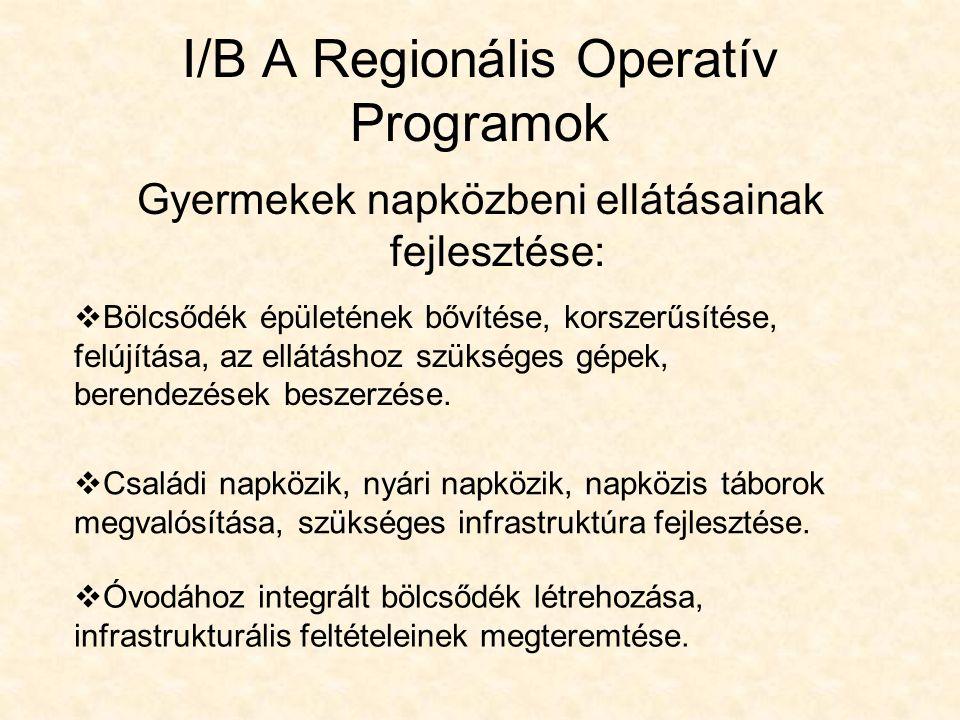 I/B A Regionális Operatív Programok Gyermekek napközbeni ellátásainak fejlesztése:  Bölcsődék épületének bővítése, korszerűsítése, felújítása, az ellátáshoz szükséges gépek, berendezések beszerzése.